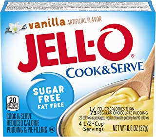 Jell-O Vanilla Sugar-Free Fat Free Pudding & Pie Filling (0.8 oz Boxes, Pack of 24)