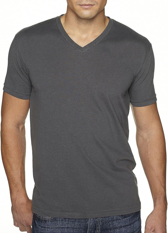 Next Level Men's Premium Sueded Short Sleeve V-Neck T-Shirt, L, HEAVY METAL