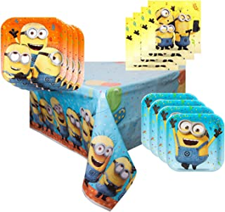 Minion Party Supplies Tableware Bundle Pack for 16 Guests - Includes 16 Dinner Plates, 16 Dessert Plates, 16 Dinner Napkins, and 1 Tablecover