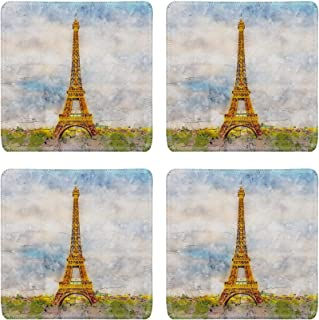 MSD Natural Rubber Square Coasters Set of 4 Design for Architecture Asian Travel Temple Buddhism Gold Thailand Religion Asia Ancie