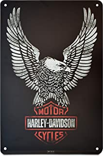 K&H Solid Black Harley Davidson Motorcycle Retro Distressed Metal Tin Sign Posters Wall Decor 12X8-Inch (American Eagle)