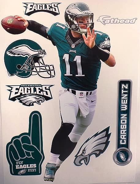 FATHEAD Carson Wentz Philadelphia Eagles Logo Set NFL Vinyl Wall Graphics 17 INCH