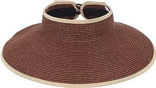 Women's UPF 50+ Packable Wide Brim Roll-Up Sun Visor Beach Straw Hat,DeepCoffee