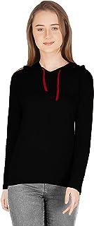 METRO-FASHION Womens Casual Hooded Neck Full Sleeves T-Shirt