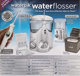 WATERPIK INC Water and Nano Flosser, Deluxe Traveler and Tip Storage Case and 12 Accessory Tips Combo Pack, 1 Set