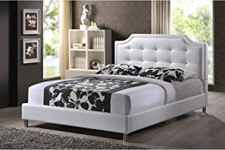 Baxton Studio Carlotta Modern Bed with Upholstered Headboard, White, 47.5