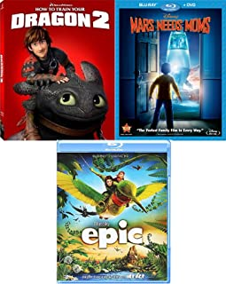 Dragons Martians Epic Animated How to Train Your Dragon 2 & Cartoon Favorite Blu Ray Mars Needs Moms awesome 3 Family movie Set