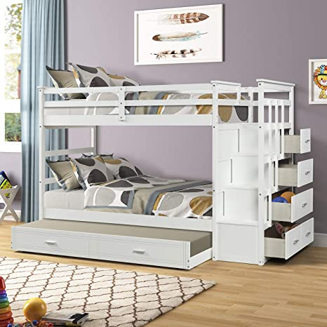 Amazon Com Bunk Bed With Trundle For Kids Twin Over Twin Bunk Beds With Trundle And Staircase Solid Wood Trundle Bed With Rails And Storage Drawers Milky White Kitchen Dining