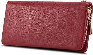 Kattee Soft Cowhide Leather Wallet Ladies Flower-embossed Clutch (Red)