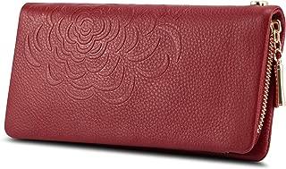 Wallet for Women, Genuine Leather Zipper Pocket Wallet Flower-embossed Clutch