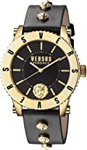 Versus by Versace Women's Madison Stainless Steel Quartz Watch with Leather Calfskin Strap, Black, 20 (Model: S31070016