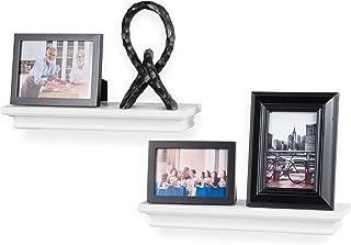 Crown Molding Floating Shelves Picture Ledge – 2 Set Shelf – for Frames Book Display Décor with Concealed Metal Bracket fo...