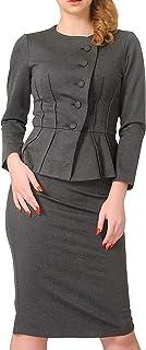 Marycrafts Women's Formal Office Business Shirt Jacket Skirt Suit