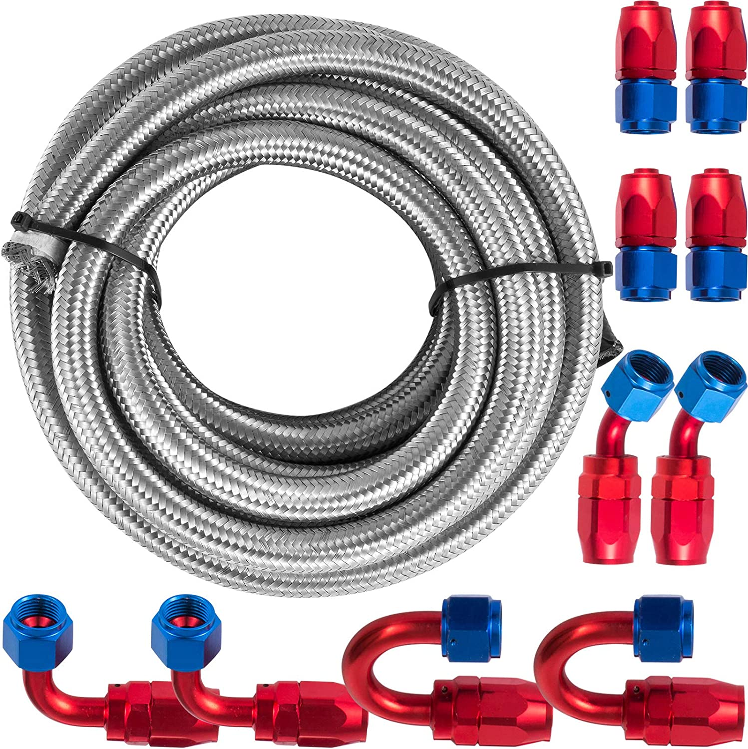 Mophorn AN8 20Ft Fuel Line Hose Stainless Steel Kit Brai - Easy-to-use shop Nylon
