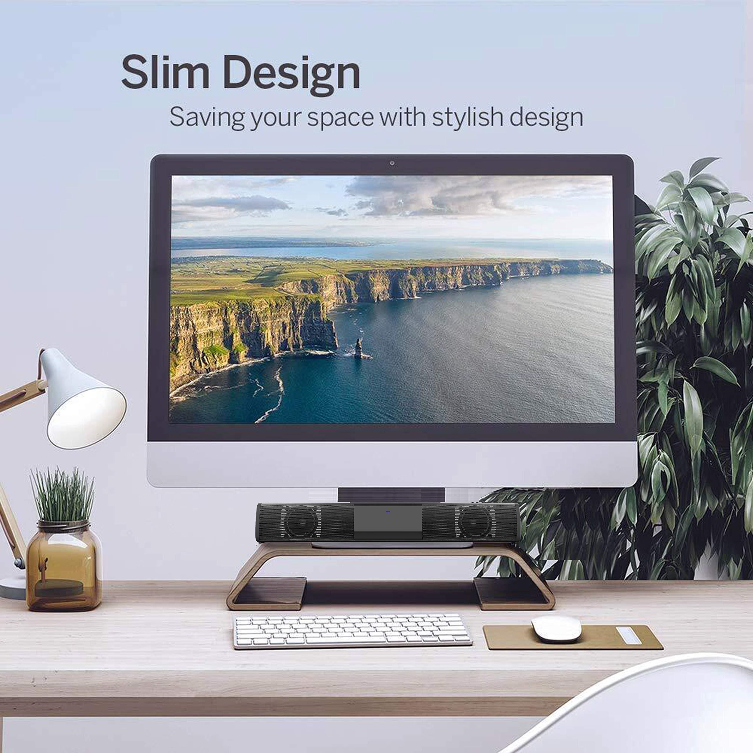 Mini altavoces de barra de sonido para TV, computadora de escritorio, portátil, PC, teléfono móvil, proyector y tableta, barras de sonido Bluetooth, conexión AUX RCA inalámbrica, Bluetooth, portátil, elegante y compacto, barra