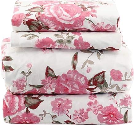 JAYCORNER 1800 (k) Series Super Soft Egyptian Comfort 4pcs King Sheet Set Microfiber Floral Pink Rose