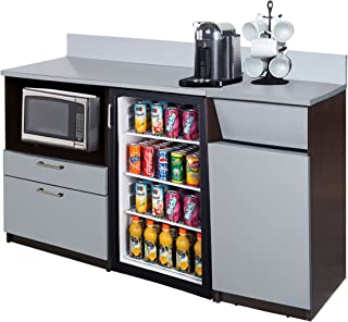 Breaktime 2 Piece 3286 Coffee Kitchen Lunch Break Room Furniture Cabinets, Fully Assembled, Ready to Use, Espresso/Silver/Metallic