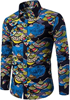 HuoGuo Shirt Male Flax Shirts Slim Fit Turn-Down Men Long Sleeve Mens Hawaiian Shirt Big Sizes