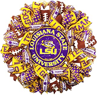 LSU Deco Mesh Wreath, Handcrafted, 24 Inches