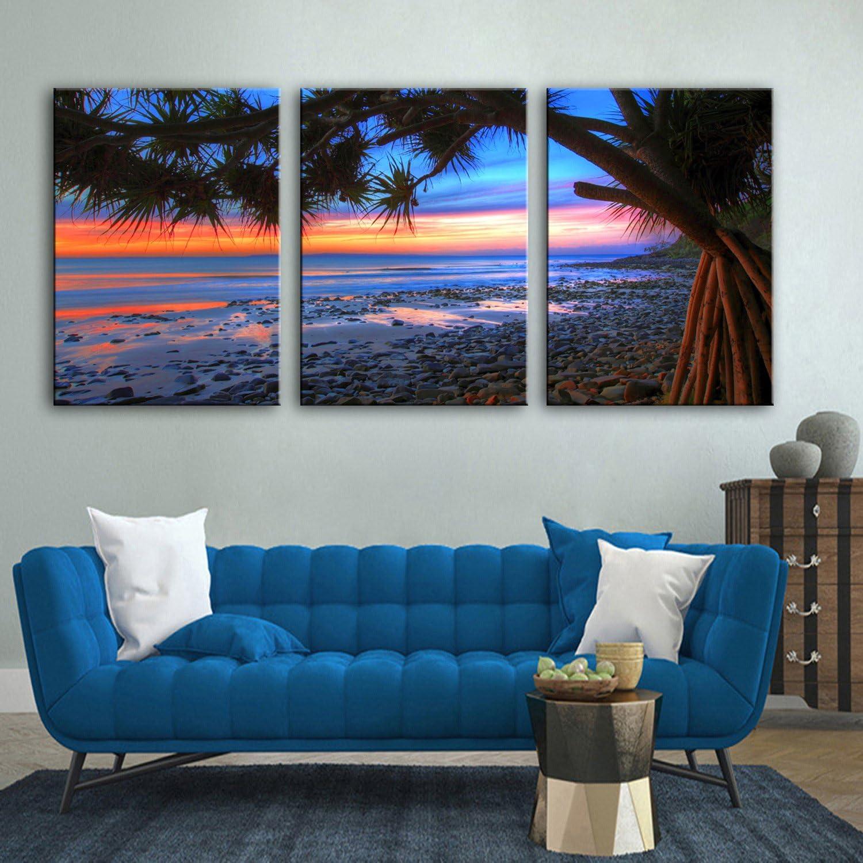 RUNDESHEBEI Y&M Leinwand-Kunst Der Strand am Sonnenuntergang-Dekoration-Malerei-Satz, rahmenlose Malerei, 40  60  3 B071JLY1H9  | Vogue