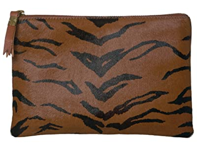 Madewell Leather Pouch Clutch in Printed Haircalf (Maple Syrup) Handbags