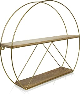 Gold Round Wall Shelves, Large Circular Floating Shelf for Bathroom, Living Room, Kitchen and Bedroom, Brass Geometric Wall Decor, Metal Sconce Shelf with Mango Wood, Boho Accent Display