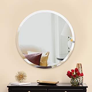 MIRROR TREND 28-Inches Round Frameless Mirror Large Beveled Wall Mirror with Solid Core Wood Backing Wall Mirror for Bathroom, Vanity, Living Room, Bedroom