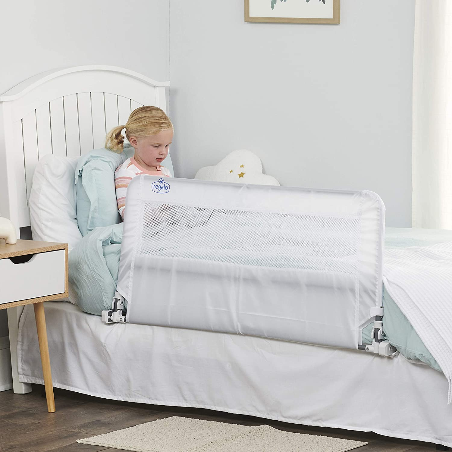 Regalo HideAway Bed Rail Guard, with Reinforced Anchor Safety System , White