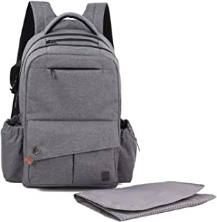 ALLCAMP Multi-Functional Waterproof Nappy Bag Travel Diaper Bag Changing Backpack with Changing Pad (Grey)
