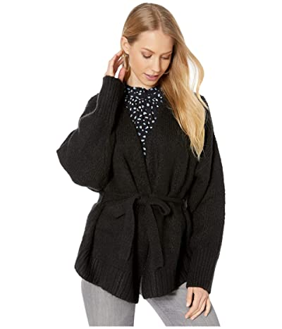 1.STATE Belted Jersey Stitch Cardigan (Rich Black) Women