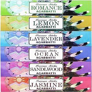 Mosfantal Premium Hand Dipped Incense Sticks - Lemon, Jasmine, Lavender, Sandalwood, Ocean, Romance Variety Gift Pack (240...