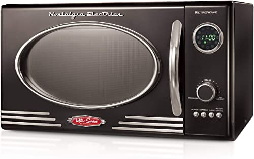 Nostalgia RMO4BK Retro 0.9 Cubic Foot 800-Watt Countertop Microwave Oven, 5 Power Levels and 12 Cook Settings, LED Di...