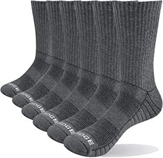 YUEDGE 6 Pairs Cotton Cushion Crew Socks Workout Training Hiking Walking Athletic Sports Socks for Men and Women