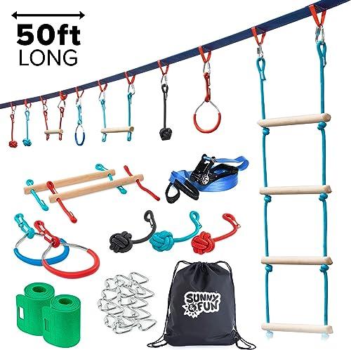 new arrival Portable 50 Foot Ninja Slackline Monkey Bar & Ladder Kit – Kids Gym Swinging Obstacle Course Set - Warrior Training Bars, Fists, Gymnastics Rings 2021 - Carry online sale Bag & Tree Protectors online