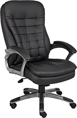 Boss Office Products B9331 High Back Executive Chair with Pewter Finsh in Black