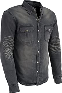 Milwaukee Performance-Men's Armored Denim Biker Shirt w/Aramid by DuPont fibers-BLACK1620-M