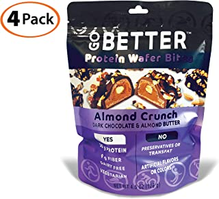 GO BETTER Keto Friendly Protein Almond Butter Bites | Dark Chocolate and Almond Butter | Dairy Free, Non GMO with Simple Whole Ingredients You Can See | 4 Pack | Almond Crunch