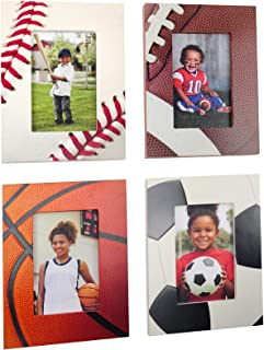 """Excello Global Products Athletic Sports Picture Frames - Baseball - Football - Basketball - Soccer - Holds 4"""" x 6"""" Photo - Great for Award Ceremonies and Home Décor - (Pack of 4)"""