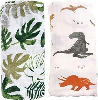 "Bamboo Muslin Swaddle Blankets for Boys - 2 Pack""Dinosaur & Tropical"" Bamboo Cotton Baby Boy Blanket Toddler Blanket - Lar..."