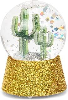 MCBKGZ Lighted LED Cactus Mini Shimmer Gold Tone Glitter 3 x 2 Durable Acrylic Globe