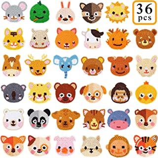 36Pcs 5D Animal Diamond Painting Stickers Kits, Digital Diamond Paint Creative DIY Art Craft Numbers Diamonds for Kids Adult Beginners