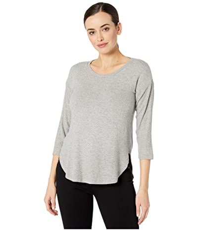 Three Dots Brushed Sweater 3/4 Sleeve (Heather Grey) Women