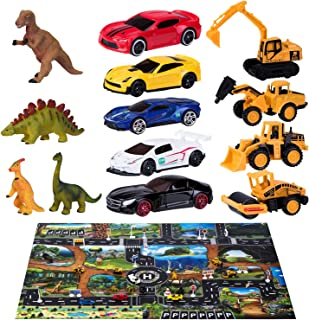 Joyjoz Toy Cars with Play Mat, Kids Car Play Set with 12 Dinosaur Toys, 5 Racing Model Cars, 4 Engineer Vehicles, 18 Traffic Signs, STEM & Educational Gift Toys for Boys, Girls with Storage Box