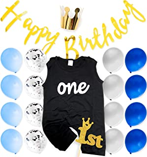 First Baby Boy Birthday Blue 1st Party Decoration Outfit Rompers and Decoration Set, Banner, Confetti Balloons, Cake Topper, Party Hat (Boy 1st)