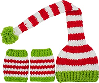 Christmas Holiday Baby Red White Outside Crochet Stocking Hat Baby Photograph Props