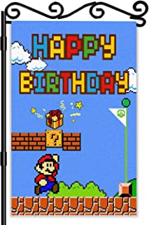 LYNHEVA Super Mario Happy Birthday Garden Flag- Mario Game Scene Yard Flag- Mario Bros Theme Birthday Party Decoration Sup...