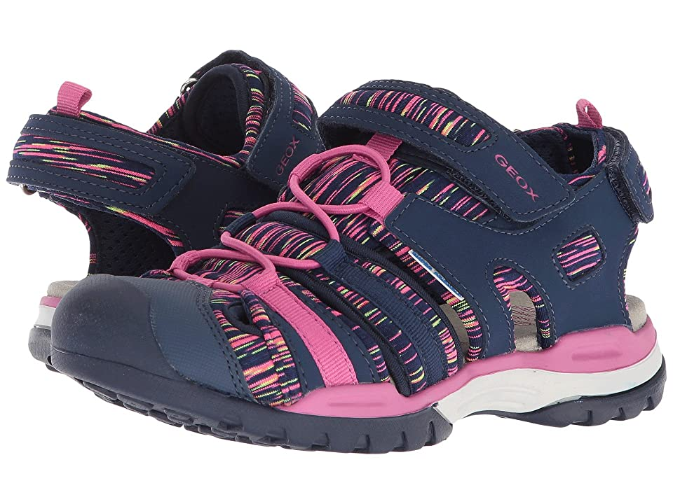 Geox Kids Borealis 8 (Big Kid) (Navy/Fuchsia) Girl