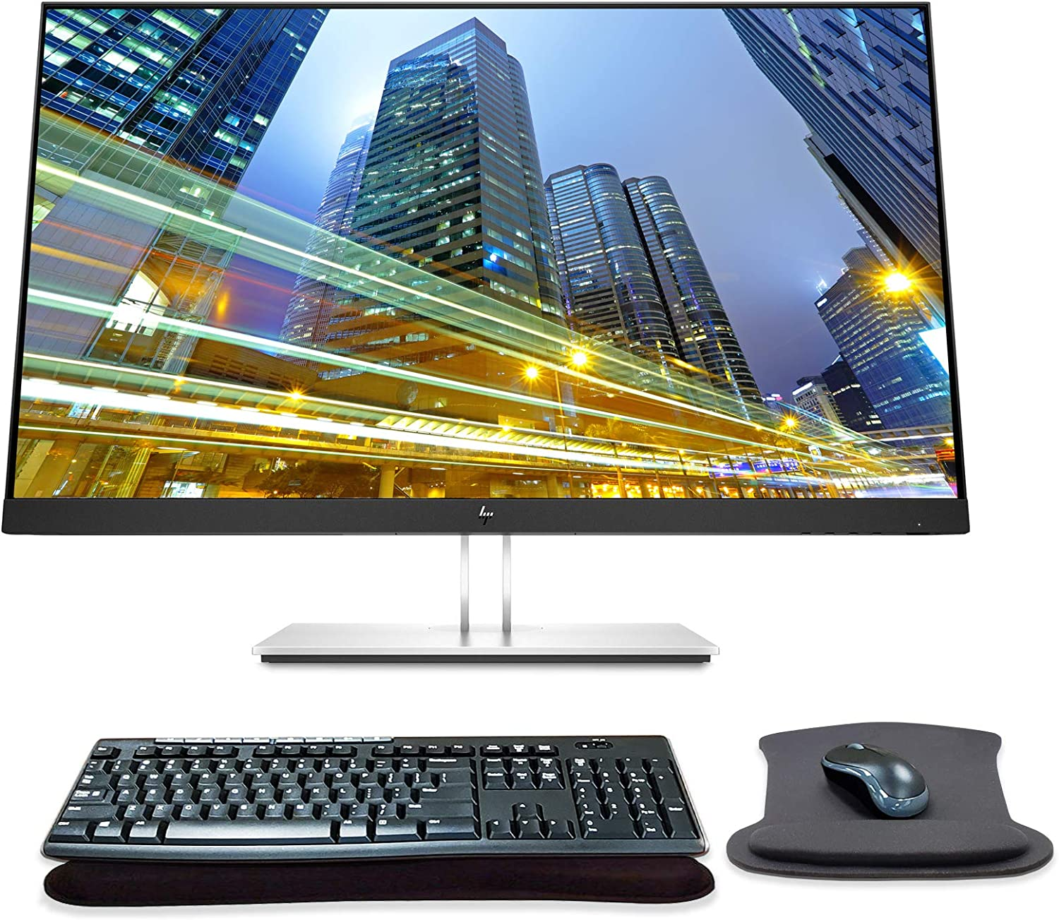 HP EliteDisplay E27q G4 27 Inch QHD QHD IPS LED-Backlit LCD Monitor Bundle with HDMI, Blue Light Filter, MK270 Wireless Keyboard and Mouse Combo, Gel Pads