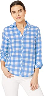Foxcroft Womens Dara Gingham Shirt 3/4 Sleeve Button Down Shirt