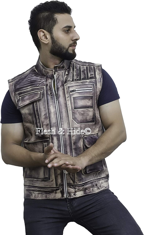 F&H Men's John Boyega Genuine Cowhide Leather Vest